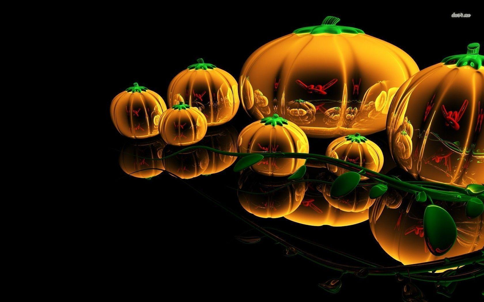 3D Pumpkini Halloween Wallpaper