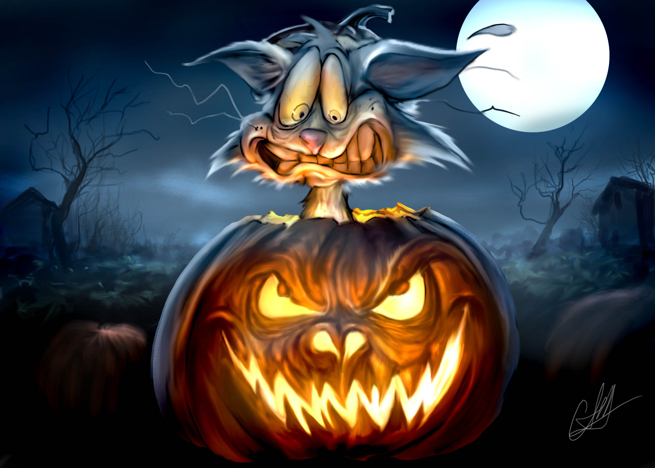 Pumpkin-Scarecrow-Haloween-Wallpaper
