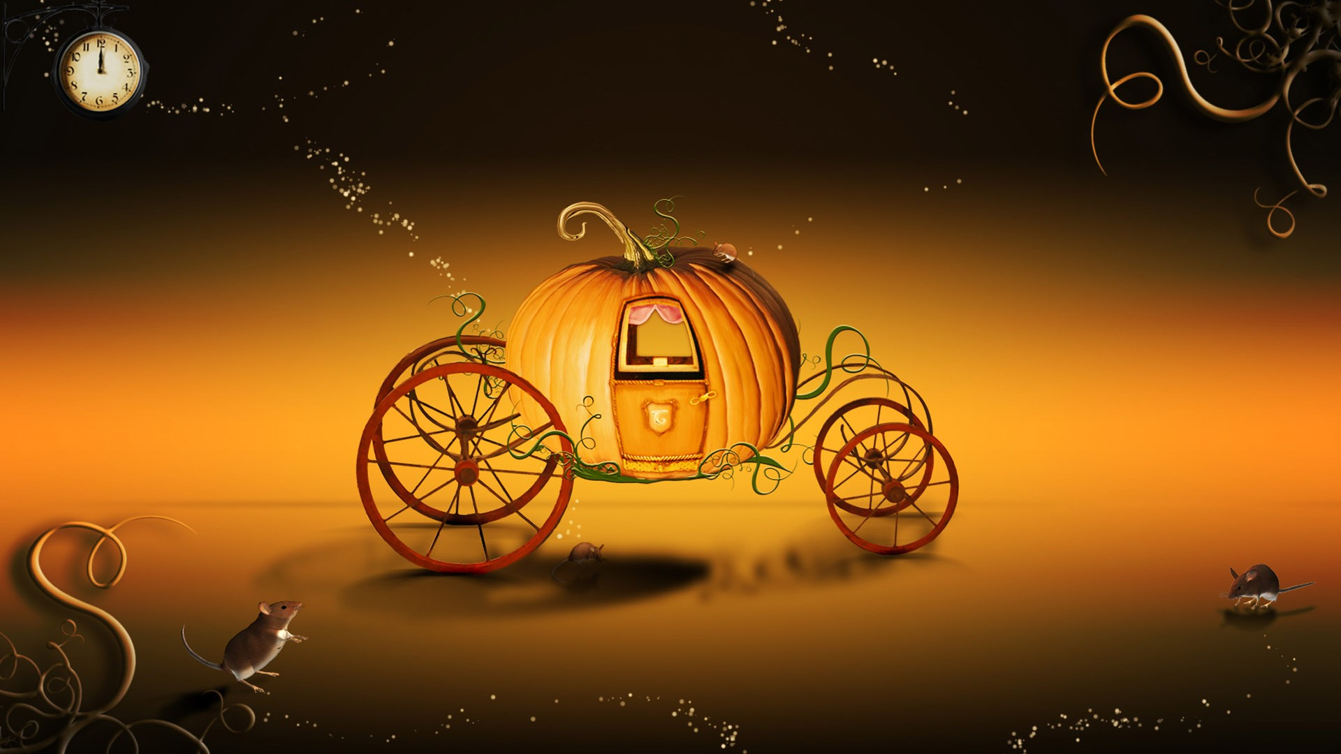 Halloween Pumpkin Cart Wallpaper