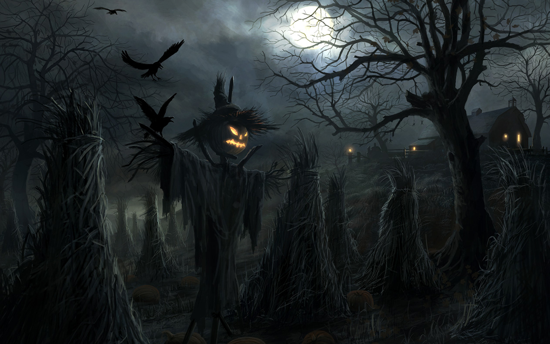 Ghost Scarecrow Halloween Wallpape